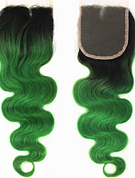 10''-22'' Green Ombre Glueless Lace Front Body Wave Virgin Remy Human Hair Top Closure Beige / Medium Brown Swiss Lace