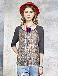 Damen Druck Einfach Ausgehen T-shirt,Rundhalsausschnitt Sommer Langarm Grau Polyester / Elasthan Dünn