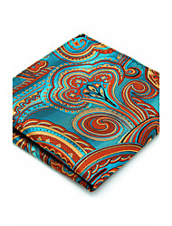 100% Silk Blue Orange Floral For Men Pocket Square New Men's Handkerchief Jacquard Woven Dress Business