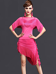 Latin Dance Outfits Women's Performance Rayon / Chinlon Tassel 2 Pieces Black / Fuchsia / Royal Blue Top / Skirt