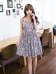 Boutique S Going out Cute Sheath DressFloral Strap Above Knee Sleeveless Pink Cotton / Rayon Summer