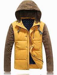 Men's Regular Padded Coat,Cotton Solid Long Sleeve Down Jacket
