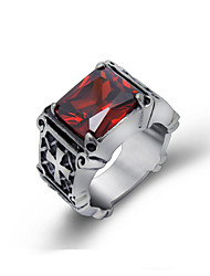 Men's Rings Retro Red Gem Personality Party Jewelry 1 pcs  Gothic Cross Patten Ring Christmas Gifts