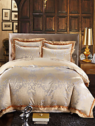 Golden Luxury Silk Cotton Blend Duvet Cover Sets Queen King Size Bedding Set