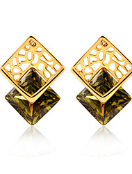 Cubic Earring Jewelry 1 pair Fashionable Copper Gold Daily / Casual