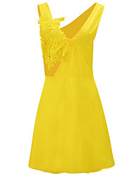 Women's Going out Sexy A Line Dress,Patchwork V Neck Above Knee Sleeveless White / Black / Yellow Polyester Summer