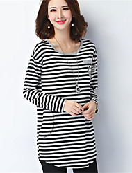 Women's Going out / Casual/Daily Simple / Active T Shirt DressStriped Round Neck Above Knee Long Sleeve Plus Size