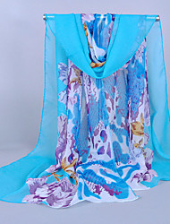 Women's Chiffon Flowers Print Scarf,Blue/Orange/Navy Blue/Pink
