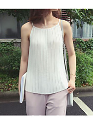 Women's Going out / Casual/Daily /Street chic Summer Tank Top,Solid Round Neck Sleeveless White / BlackBamboo