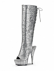 Feminino-Botas-Plataforma Sapatos clube-Salto Agulha Plataforma-Preto Vermelho Branco Prateado-Couro Envernizado Materiais Customizados-