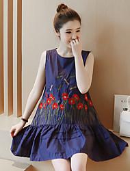 Ample Robe simple,Couleur Pleine Col Arrondi Au dessus du genou Sans Manches Bleu / Blanc Coton Eté Micro-élastique Moyen