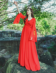 Women's Casual/Daily Simple Sheath Dress,Solid V Neck Maxi Long Sleeve Red Cotton Fall