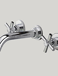 Contemporary Wall Mounted Widespread Wall Mount with  Brass Valve Two Handles Three Holes for  Chrome , Bathroom Sink Faucet