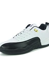 Masculino-Tênis-Conforto-Rasteiro-Preto / Preto e Vermelho / Preto e Branco-Microfibra-Ar-Livre / Casual / Para Esporte