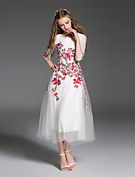 es Dannuo femmes sortir simples une robe de ligne, brodé midi col rond ½ manches longueur polyester blanc l'été
