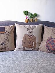 Set Of 3 Papa Deer  Print Linen Pillow Cover