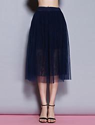 sólidos saias azuis das mulheres Sybel, bonito / street midi chique