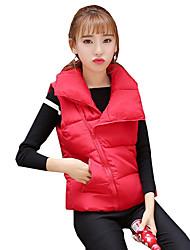 Women's Solid Slim Warm Large Size Fashion Down Coat,Street chic Shirt Collar Sleeveless