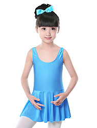 Ballet Dresses Children's Training Spandex Ruched 1 Piece Vest Sleeveless Natural Dress Kid's Dance Costumes
