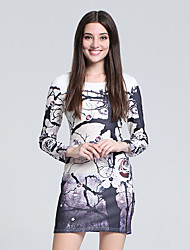 Women's Party/Cocktail Sexy Sheath Dress,Print Round Neck Mini Long Sleeve Gray Cotton Fall High Rise Micro-elastic Thin