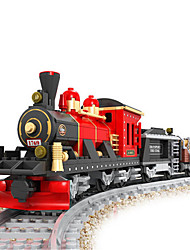 rompecabezas de tren de la vendimia de plástico juego de construcciones montaje de bricolaje para niños