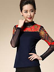 Feminino Blusa Casual Moda de Rua Primavera Outono,Estampado Fibra Sintética Elastano Colarinho Chinês Manga Longa Média
