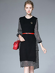 AFOLD® Women's Round Neck Long Sleeve Knee-length Dress-6032