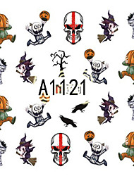 1pcs Nail Art Halloween Sticker Skull Pumpkin Lovely Animal Cartoon DIY Nail Art Decoration A1121-1128