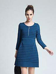 las mujeres Joj va a salir vaina de vestir lindo, cuello redondo sólido por encima de la manga larga de algodón azul del resorte de la rodilla