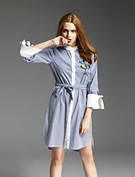 sinto falta de francês sair / dia / feriado sexy / bonito Vestido direito, listrado / carta ficar na altura do joelho ½ comprimento da manga azul