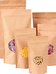 Kraft Paper Bag Open Circular Window Ziplock 11 * 16 Tea Bags Tea Bags A Self-Styled Self-Valence A Pack Of Ten