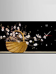 Moderne/Contemporain Fleurs / Botaniques Horloge murale,Rectangulaire Toile 30 x 60cm(12inchx24inch)x1pcs/ 40 x 80cm(16inchx32inch)x1pcs
