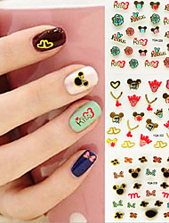 24PCS 3D Gilding Cartoon Mickey Nail Sticker