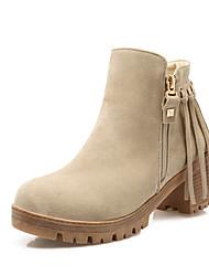 Women's Boots Fall / Winter Fashion Boots Leatherette Dress / Casual Chunky Heel Zipper Black / Brown / Almond Walking