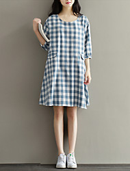 Women's Casual/Daily Street chic Loose Thin Dress,Print Knee-length ¾ Sleeve Blue Cotton / Linen Summer