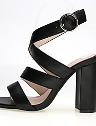 Women's Shoes PU Chunky Heel Heels Sandals Office & Career / Dress / Casual Black / White / Silver / Almond