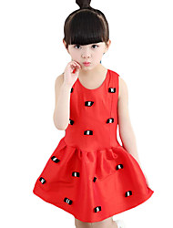 Girl's Casual/Daily Print Dress,Others Summer Red