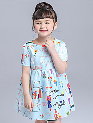KIMOCAT Girl's Casual/Daily Print Dress,Cotton Summer Blue / Pink