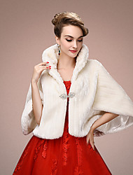 Women's Wrap Shrugs Half-Sleeve Faux Fur White Wedding / Party/Evening Shawl Collar Tiered Open Front