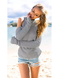 Women's Casual/Daily Street chic Long Pullover,Solid Gray Turtleneck Long Sleeve Polyester Winter Thin