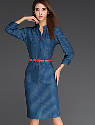 Damen Hülle Kleid-Lässig/Alltäglich Einfach Gestreift Ständer Knielang Langarm Blau Baumwolle Herbst Hohe Hüfthöhe Unelastisch
