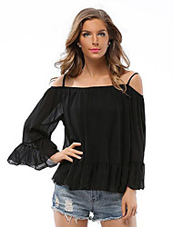 Women's Casual/Daily Simple / Street chic Off-The-Shoulder Loose Blouse,Solid Strap Long Sleeve