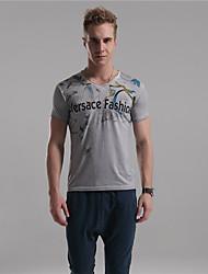 Herr D® Herren V-Ausschnitt Kurze Ärmel T-Shirt Blau / Braun / Hellgrau-9