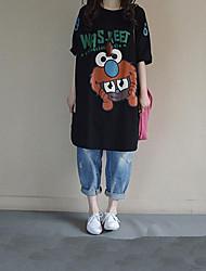Damen Tierfell-Druck Einfach Lässig/Alltäglich T-shirt,Rundhalsausschnitt Sommer ½ Länge Ärmel Blau / Weiß / Schwarz Baumwolle Mittel