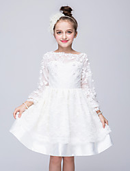 Princesse longueur au genou Robe fille fleur - Taffetas en polyester manches longues Col bateau avec applique