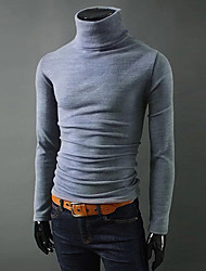 Men's Solid Casual / Sport Pullover,Cotton / Nylon Long Sleeve Black / Blue / Brown / Green / Gray Sweater