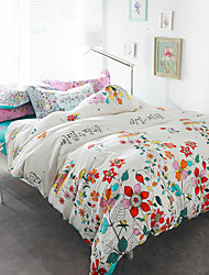 Beautiful flowers 4piece bedding sets print duvet cover Sets 100% Cotton Bedding Set Queen Size