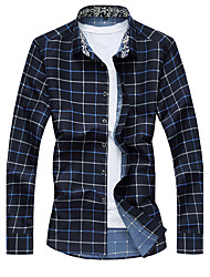 Men's Plaid Casual / Plus Size Shirt,Cotton / Polyester Long Sleeve Blue / Red