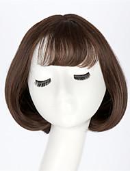 les plus chaudes dame courte poire tête de fleur perruques moelleuses avec frange soignées belles femmes style bob brun clair court
