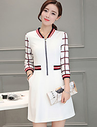 Women's Going out Street chic A Line Dress,Patchwork V Neck Above Knee ¾ Sleeve White Polyester Fall